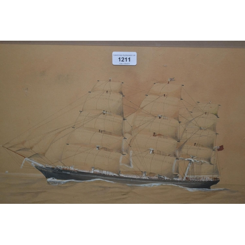 1211 - J.E. Cooper, early 20th Century watercolour of the Cutty Sark under sail, signed, 14ins x 20ins...