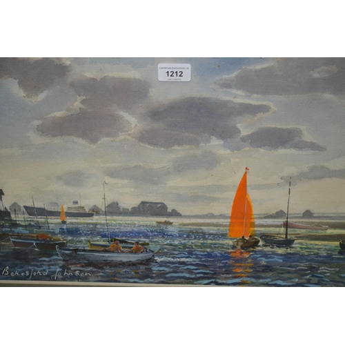 1212 - Beresford Johnson, 20th Century watercolour, various small boats before a tanker in harbour, signed,...