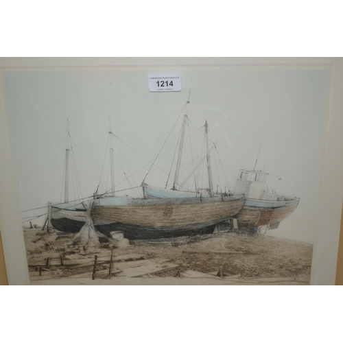 1214 - Mark Chaplin, group of four signed etchings, coastal scenes, housed in mahogany frames...