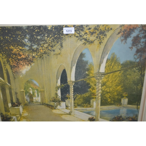 1215 - W.A. Lambrecht, signed lithograph, figures in a cloister beside a pool, 17ins x 23ins, framed...
