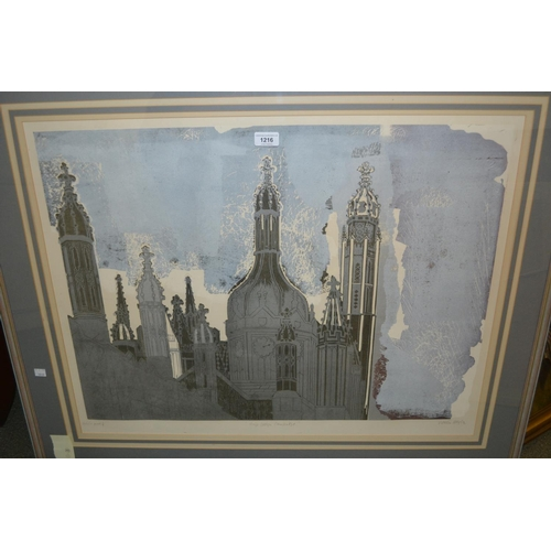 1216 - Walter Hoyle, artist signed proof print, Kings College, Cambridge, 22ins x 30ins, framed...
