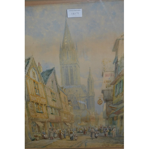 1217 - Henry Schafer, pair of watercolours, North European city street scenes with figures, signed, 18ins x...
