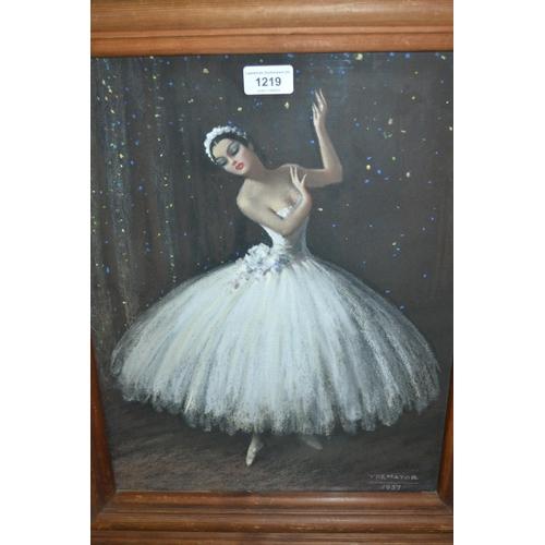 1219 - Severino Trematore, pastel study of a ballerina, dated 1937...