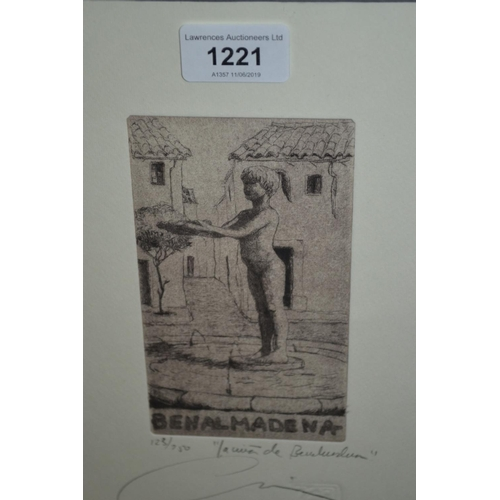 1221 - Salvador Chica Jimenez, signed etching, figure study, No. 123 of 250, framed...