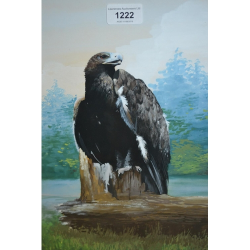 1222 - Gouache, study of an eagle on a tree stump, signed with initials...