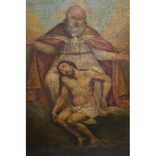 1223 - 18th / 19th Century oil on canvas, portrait of Christ with attendant figure above, 30ins x 25ins, eb...