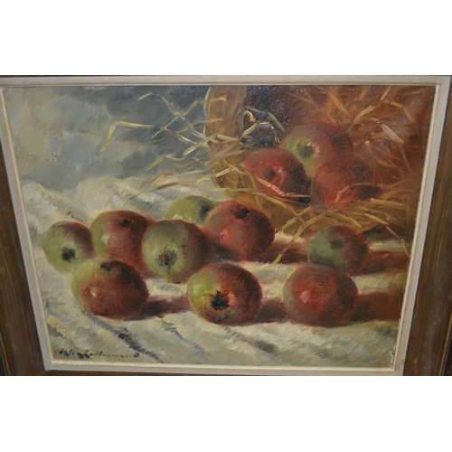 1226 - Early 20th Century oil on canvas, still life with apples, signed Lallemand, 15ins x 18ins...