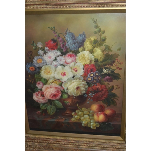 1229 - 20th Century oil on panel, still life with flowers and fruit on a  marble ledge, 20ins x 16ins, gilt...