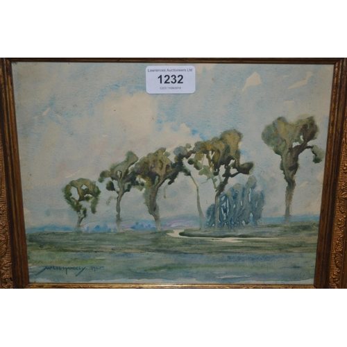 1232 - W. Lee Hankey signed watercolour, landscape with trees and winding river, dated 1905, 7.5ins x 9.5in...