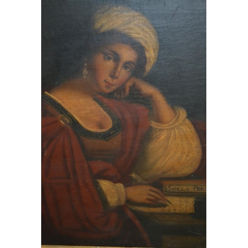 1233 - 19th Century oil on canvas, portrait of a Continental lady in red robes, 24ins x 18ins...