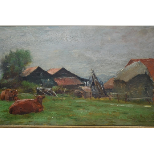 1234 - 19th Century oil on panel, cattle resting by farm buildings, indistinctly signed Clayton Adams?, 5.5...