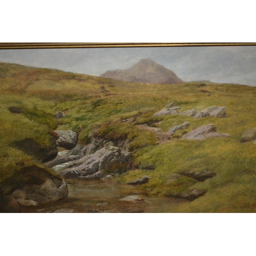 1237 - Charles Jones oil on millboard, extensive moorland landscape with stream, signed and dated 1863 vers...