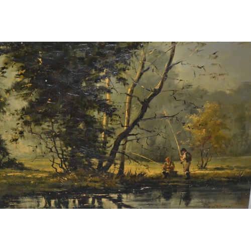 1238 - Gudrun Sibbons signed oil on board, fishermen in a sunlit river landscape, 12ins x 17ins...