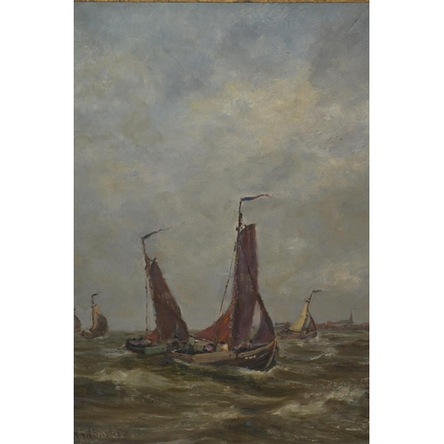 1239 - Hugh S Hemsley signed oil, fishing smacks off the English coast, 15ins x 13ins...