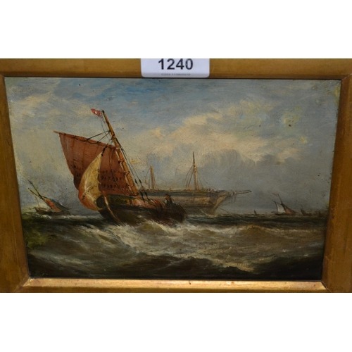 1240 - 19th Centruy oil on canvas, maritime scene with fishing boats and hulk at anchor, 6ins x 8ins...
