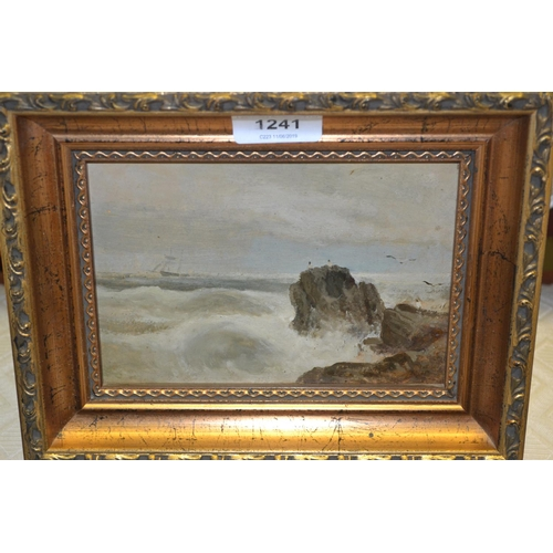 1241 - Attributed to S.L. Kilpatrick, pair of oils on card laid on board, shipping off a rocky coastline, 5...