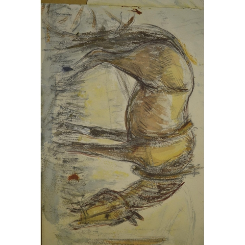 1242 - Anton Lock, oil on panel, horse at a trough (signed verso), together with three watercolours, horse ...