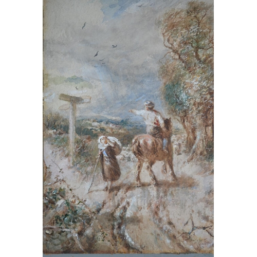1245 - J. Knox signed watercolour and body colour, figure and horseman on a country road, 14ins x 10ins, un...