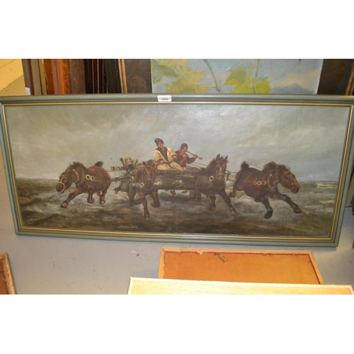 1246 - 20th Century Russian School oil on canvas, figures driving a four horse drawn cart, 16ins x 39ins...