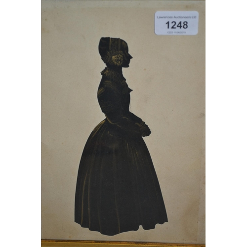 1248 - Pair of 19th Century maplewood framed silhouette portraits of a lady and gentleman, highlighted with...