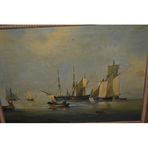 1249 - After The Antique, oil on canvas, maritime scene with boats on calm waters, 11.5ins x 15.5ins...