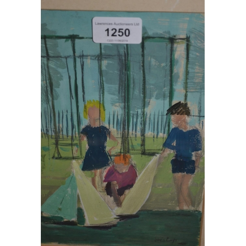 1250 - Framed gouache painting, children with toy boats by a lake, signed ' Hislop ', 9ins x 6.5ins...