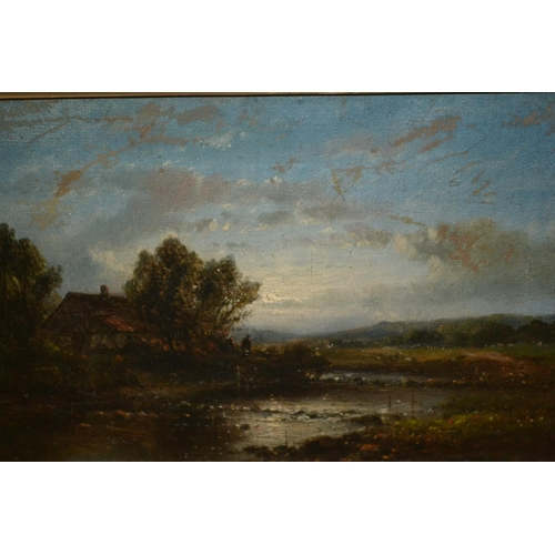 1251 - Abraham Hulk Junior signed oil on canvas, river landscape at sunset with figures by a cottage, 8ins ...
