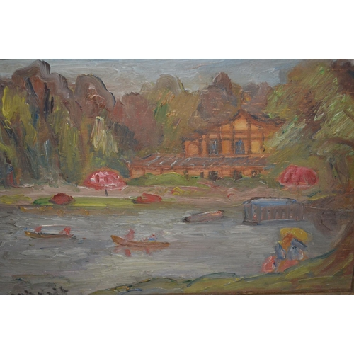 1253 - Early 20th Century impressionist style oil on panel, figures at a boating lake, signed Reinhardt ?, ...