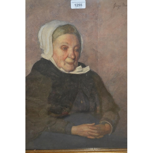 1255 - George Thomson, watercolour, portrait of a seated elderly lady, dated 1906, gilt framed, 19ins x 15i...
