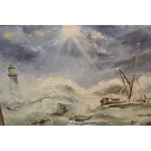 1258 - Basil Goddard, oil on board, shipwreck scene, gilt framed...