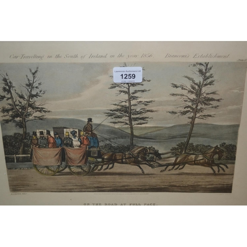 1259 - Set of six Ackerman and Co. coloured prints 'Car Travelling in the South of Ireland, 1856 ', by Harr...