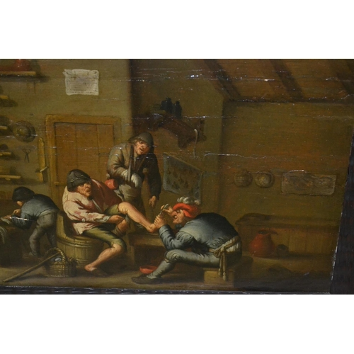 1260 - Follower of Ostade, an antique oil on panel, interior scene with a barber surgeon at work, 10ins x 1...
