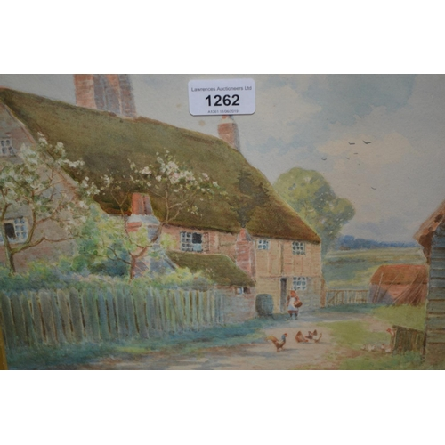 1262 - 19th Century gilt framed watercolour, figure and chickens before a thatched cottage together with a ...