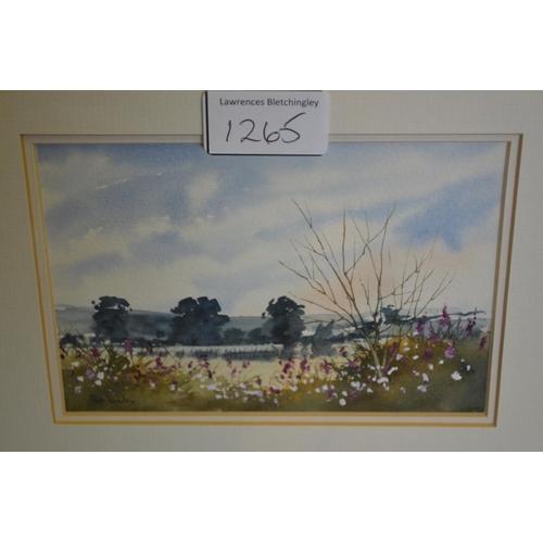 1265 - Small modern gilt framed watercolour, beach scene with children, pair of small modern watercolour la...