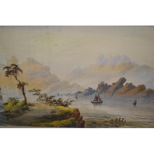 1266 - H. Earp, pair of unframed watercolours, lake scenes, together with a quantity of 18th Century portra...
