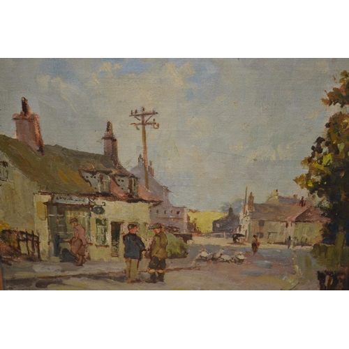 1272 - William Benner, 20th Century oil on board, figures in a street scene at Westleton, signed, 9ins x 11...