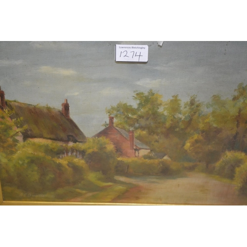 1274 - Pair of late 19th Century oils on canvas, village street scenes, signed Beazeley and dated '95, 9.5i...