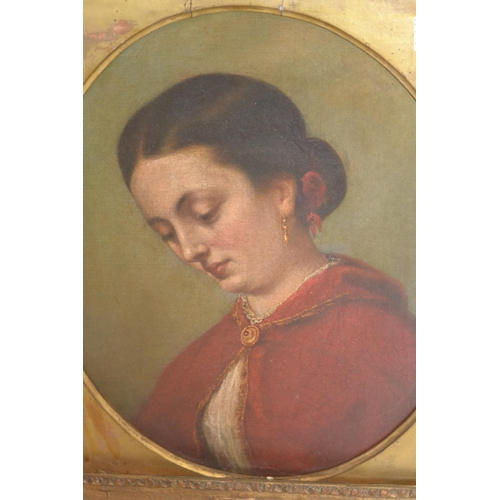 1276 - 19th Century oil on canvas,oval mounted head and shoulder portrait of a lady in a red cloak, 15ins x...
