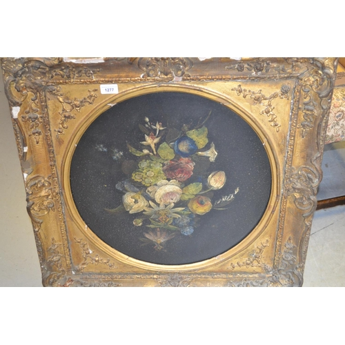 1277 - 19th Century circular mounted oil on panel, still life study of flowers, 19ins diameter, gilt framed...