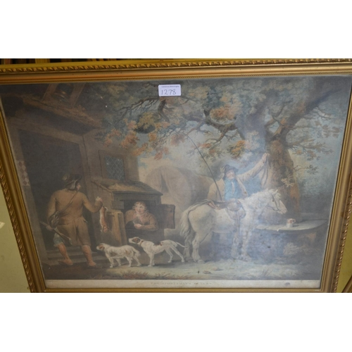 1278 - Group of three late 18th Century framed engravings after Bigg and Morland, gilt framed...