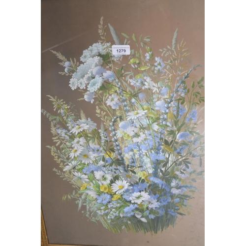 1279 - M. Longfire, oil on board, still life, study of summer flowers, signed, 27ins x 19ins, gilt framed...