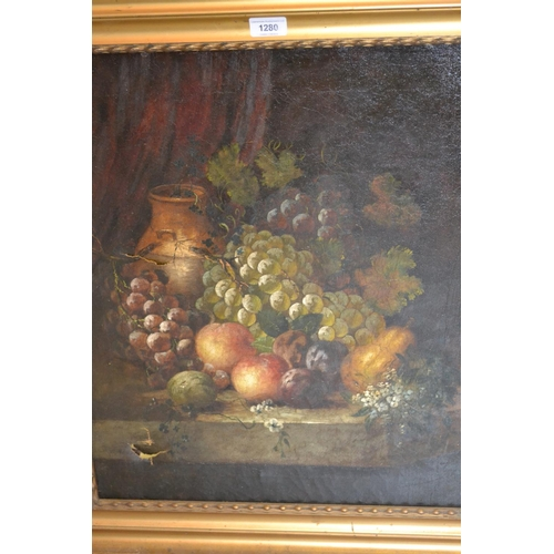 1280 - 18th / 19th Century oil on canvas, still life study of fruit and a vase on a stone ledge (canvas at ...