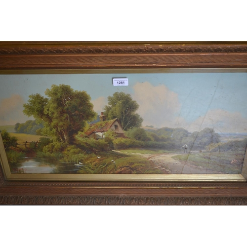 1281 - R. Jenson, pair of late 19th Century, oils on card, rural scenes with figures on tracks, signed and ...