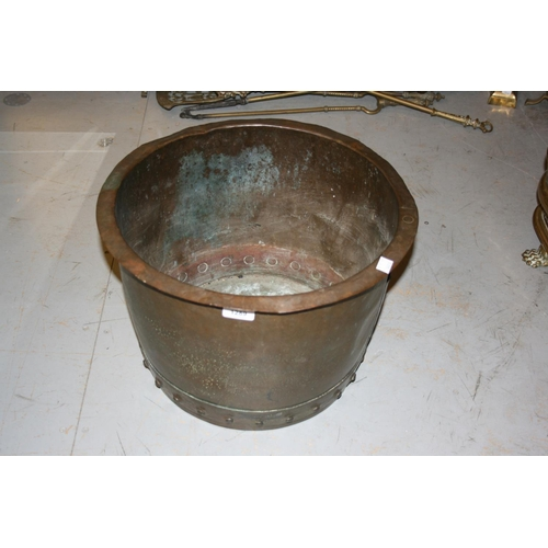 1289 - Small riveted copper log bin, 17.5ins diameter...