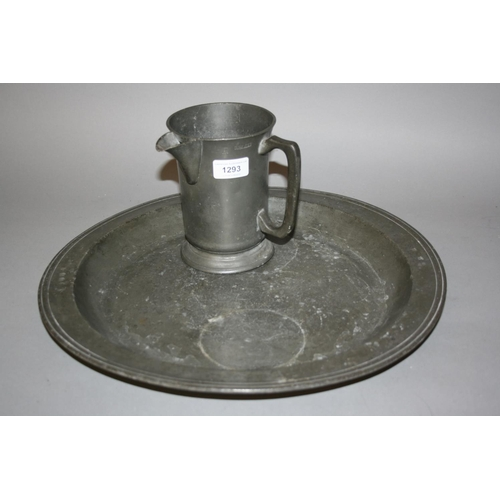 1293 - 18th Century London pewter circular charger together with a pewter quart jug...