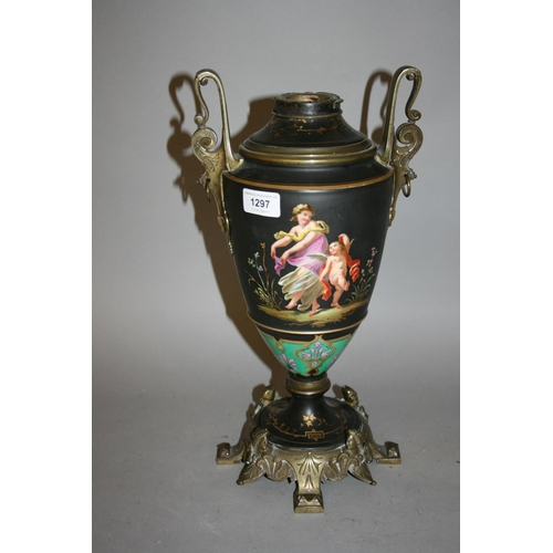 1297 - 19th Century French bronze mounted porcelain oil lamp base painted with figures (at fault)...