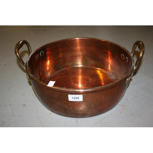 1298 - 19th Century circular copper two handled preserve pan...