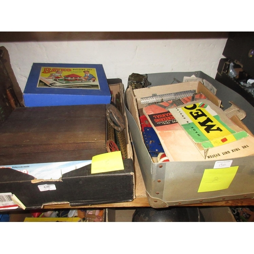 130 - Two boxes containing a quantity of Meccano, other construction toys and tin plate toys...