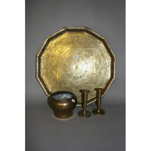 1306 - Brass Benares type tray, pair of similar candlesticks and a similar brass bowl...