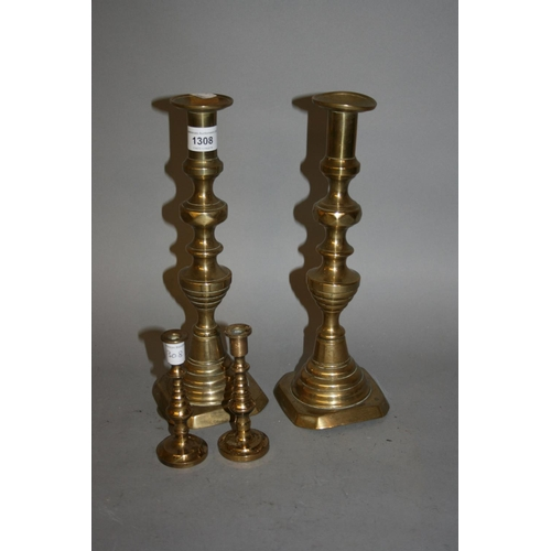 1308 - Pair of large 19th Century brass knopped stem candlesticks and a pair of smaller candlesticks...